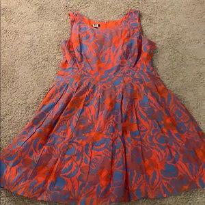 Cute Talbots Print Cotton Dress. Knife Pleats. 14P